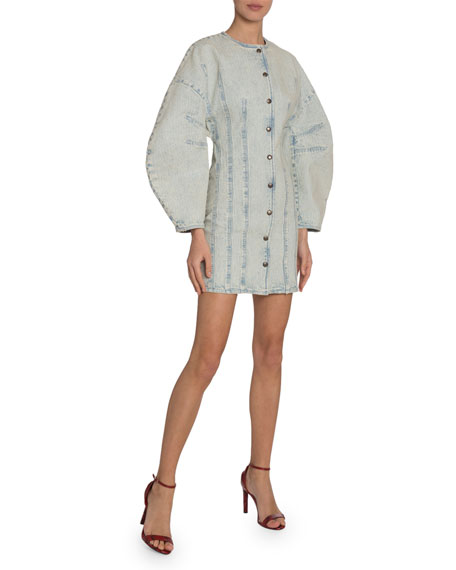 Givenchy Lantern-Sleeve Button-Front Denim Dress