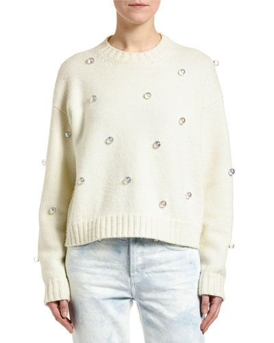 Below Zero Drop-Shoulder Studded Sweater