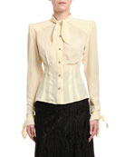 Dolce & Gabbana Long-Sleeve Button-Front Shirt with Padded