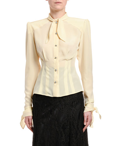 Long-Sleeve Button-Front Shirt with Padded Shoulders