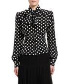 Dolce & Gabbana Polka-Dotted Silk Bow-Neck Shirt with