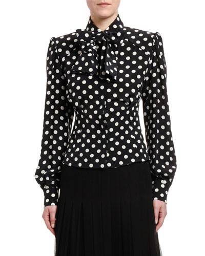 Polka-Dotted Silk Bow-Neck Shirt with Padded Shoulders