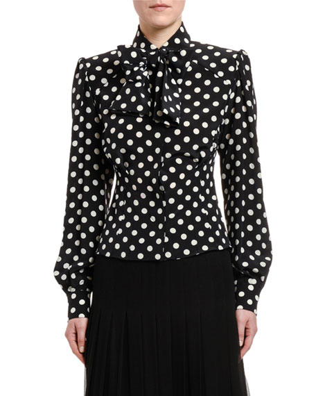 Dolce & Gabbana Polka-Dotted Silk Bow-Neck Shirt with Padded Shoulders