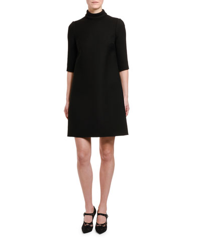 1/2-Sleeve Tie-Neck Double Crepe Dress