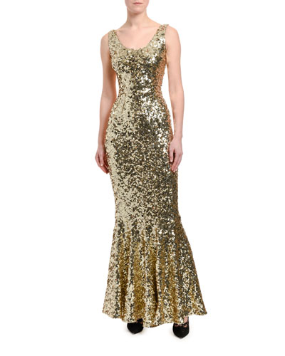 Sequined Sleeveless Mermaid Gown