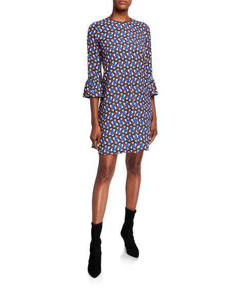 Double J Ruffled-Cuff Pinwheel Dress