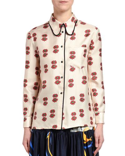 Flower-Square Satin Shirt