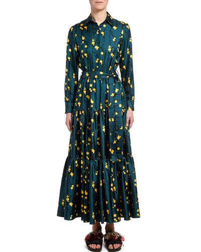 Silk Twill Bow-Neck Dress