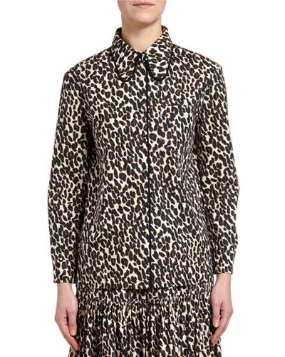 Leopard-Print Cotton Blouse