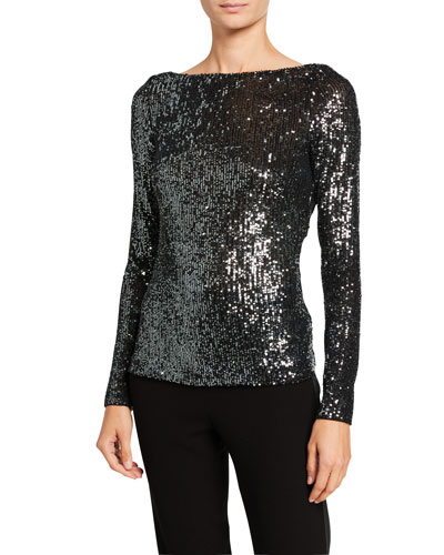 Sequined V-Back Top