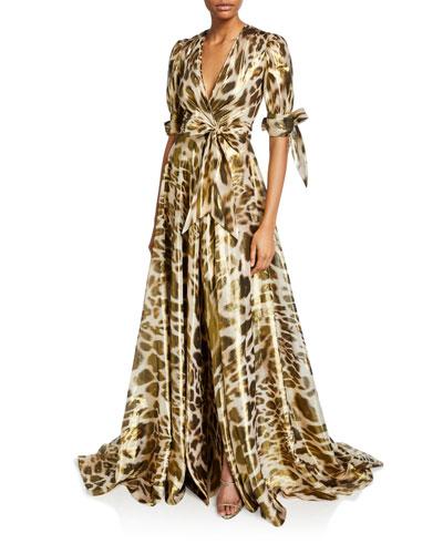 Animal-Print Wrap Dress