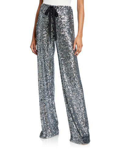 Sequined Tie-Waist Pants