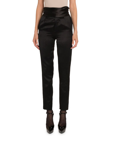 Satin High-Rise Tuxedo Pants