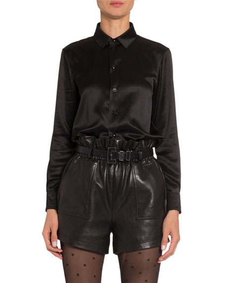 Saint Laurent Satin Classic Button-Front Blouse