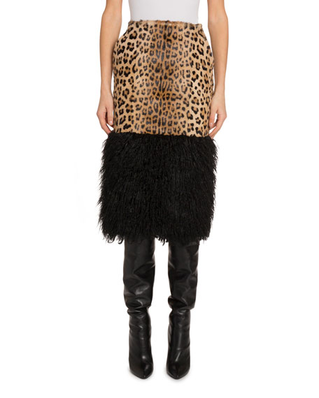 Saint Laurent Leopard Midi Skirt