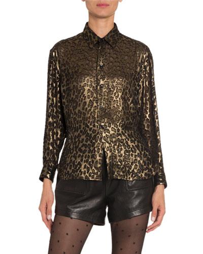 Leopard-Print Velvet Classic Blouse