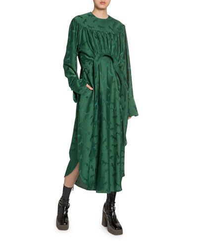 Draped Horse-Brocade Satin Dress