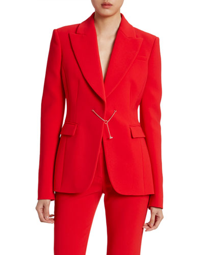 Wool Crepe Fitted Chain-Front Blazer