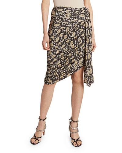 Paisley Draped Jersey Skirt