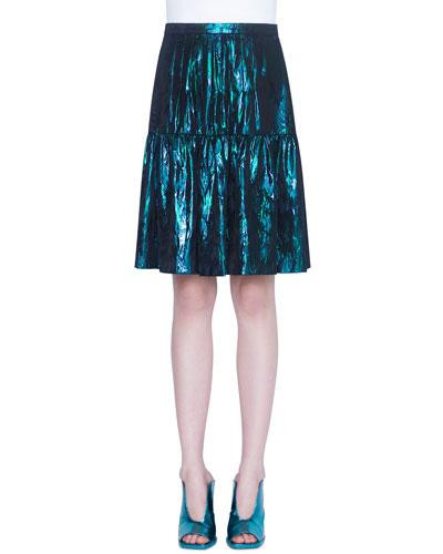 Foiled Flounce-Hem Skirt