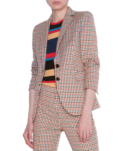 Houndstooth Jacquard Cotton Blazer