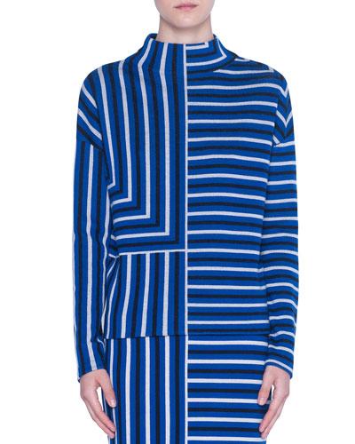 Merino Knit Square-Jacquard Mock-Neck Sweater