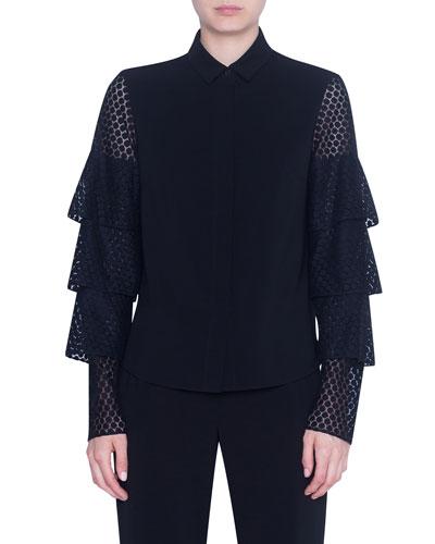 Laser-cut Lace-Sleeve Button-Front Shirt