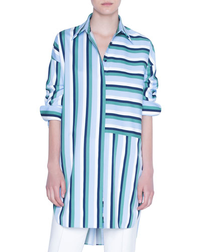 Patchwork Striped 3/4-Sleeve Tunic Blouse