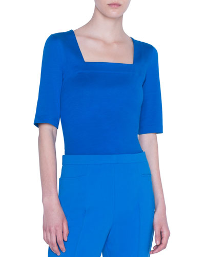 Square-Neck Stretch-Cotton Jersey Top