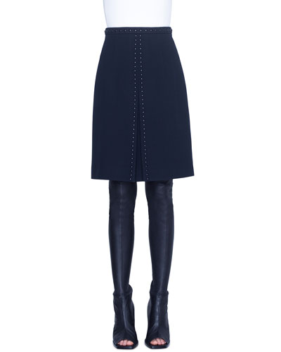 Rivet-Trim Diagonal Knee-Length Skirt