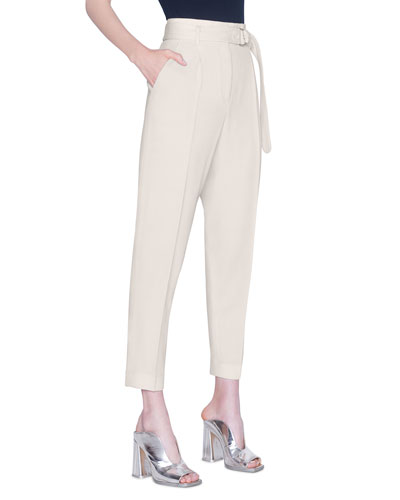 Fred Self-Belted Straight-Leg Pants
