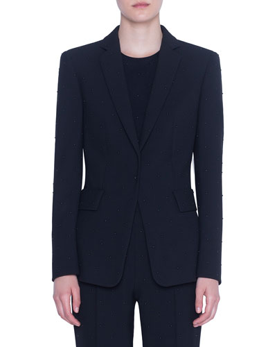 Studded Pebble-Crepe Blazer
