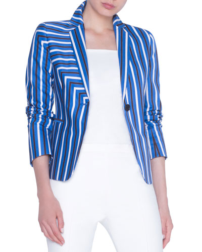 Striped Gabardine Fitted Blazer