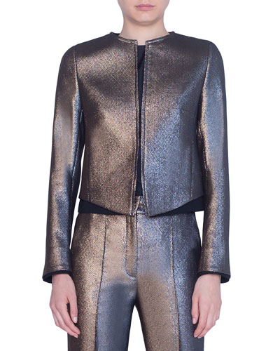 Iridescent Golden Zip-Front Jacket