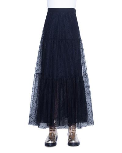 Starry Sky Tulle Midi Skirt