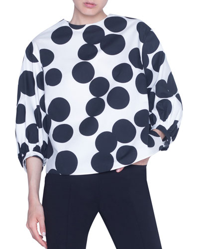 Large-Dotted Poplin Blouse