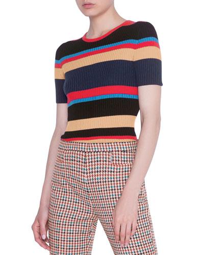 Striped Short-Sleeve Rib Sweater