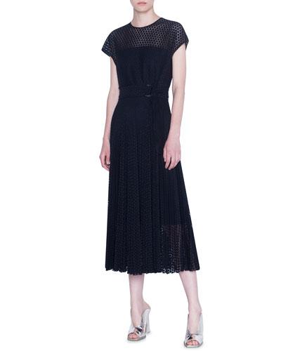 Lace Crewneck Midi Dress