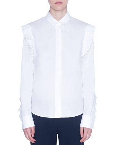 Kent Collar Ruffled-Shoulder Poplin Blouse