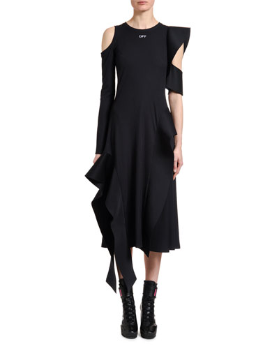 Asymmetric Cutout Crepe Midi Dress