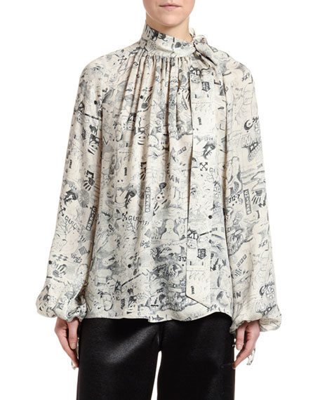Off-White Graphite Drawing Tie-Neck Flowing Shirt