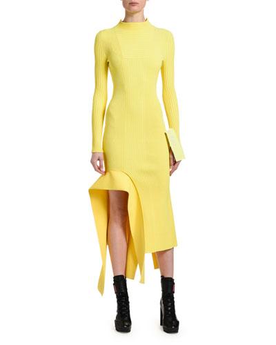 Ribbed Asymmetric Ruffle Dress