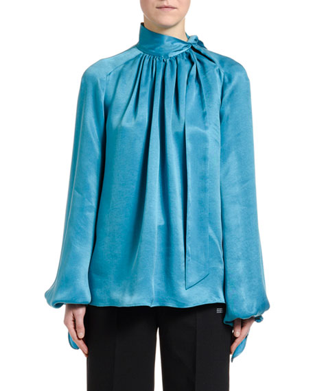 Off-White Flowing Satin Full-Sleeve Tie-Neck Blouse, Blue