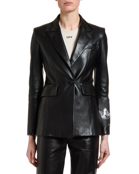 Off-White Leather Patch-Sleeve Fitted Blazer