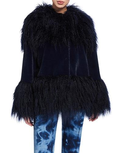 Mongolian Faux-Fur Cuffed Coat