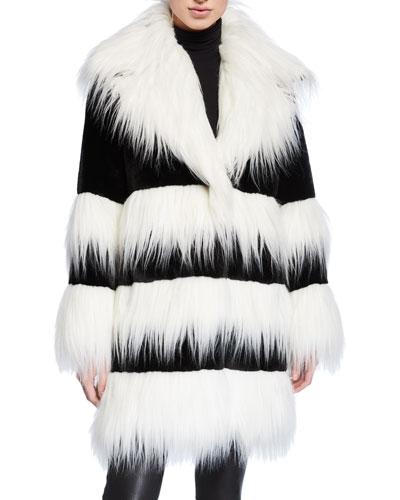 Two-Tone Faux Beaver & Monkey Fur Coat