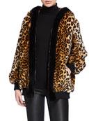 Amanda Baldan Leopard-Print Faux Fur Oversized Hoodie