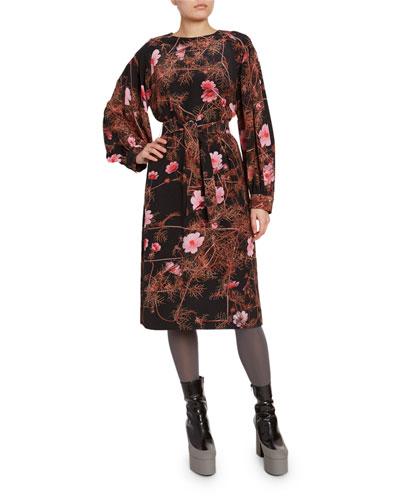 Floral-Print Belted Midi Dress