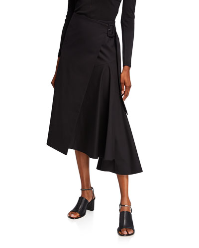 Buckled-Side Midi Skirt