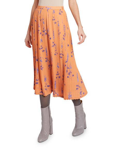 Dries Van Noten Floral-Plisse Midi Skirt
